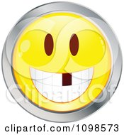 Yellow And Chrome Cartoon Smiley Emoticon Face With A Missing Tooth
