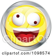 Clipart Yellow And Chrome Silly Cartoon Smiley Emoticon Face Royalty Free Vector Illustration