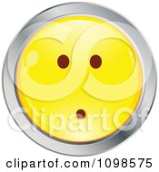 Yellow And Chrome Shocked Cartoon Smiley Emoticon Face