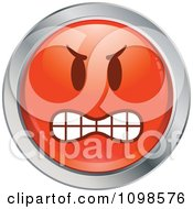 Clipart Red And Chrome Bully Cartoon Smiley Emoticon Face 3 Royalty Free Vector Illustration