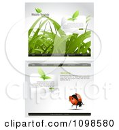 Clipart Website Home Page Interface Templates With Grass Butterflies And Ladybugs And Navigation Bars Royalty Free Vector Illustration by creativeapril