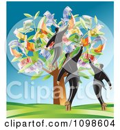 Clipart Successful Business Men Plucking Euros From A Tree Royalty Free Vector Illustration by creativeapril