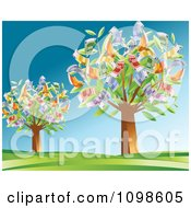 Clipart Two Trees Growing Euro Cash Royalty Free Vector Illustration by creativeapril