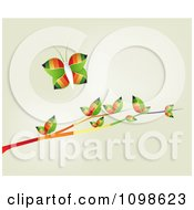 Clipart Colorful Butterfly Over Rainbow Leaves On A Branch On Beige Royalty Free Vector Illustration by creativeapril