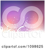 Clipart Purple And Orange Background With White Grunge And Swirls Royalty Free Vector Illustration