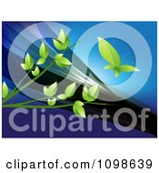 Clipart Green Leaf Butterfly Over Branches On A Blue Wave Background Royalty Free Vector Illustration by creativeapril