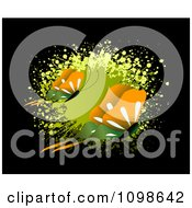 Clipart Two Green And Orange Butterflies Over A Green Splatter On Black Royalty Free Vector Illustration by creativeapril