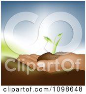 Clipart Farmer Holding Soil And A Seedling Plant In Hand Royalty Free Vector Illustration
