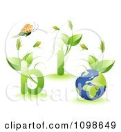 Clipart Butterfly Over Floral Bio Plants And A Globe Royalty Free Vector Illustration by creativeapril