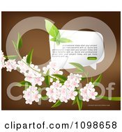 Clipart Leaf Butterfly Over A Word Balloon And Pink Blossoms On Brown Royalty Free Vector Illustration by creativeapril