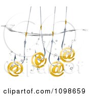 Clipart 3d Gold Email Phishing Arobase Symbols On Fish Hooks Dunked In Water Royalty Free Vector Illustration
