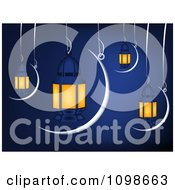 Clipart Muslim Ramadan Crescent Moons And Lanterns Suspended Over Blue Royalty Free Vector Illustration