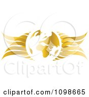 Clipart 3d Golden Globe With Wings Royalty Free Vector Illustration