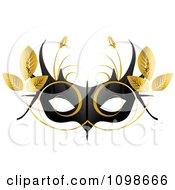Clipart Black Feminine Mardi Gras Mask With Golden Leaves Royalty Free Vector Illustration by creativeapril