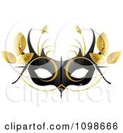 Clipart Black Feminine Mardi Gras Mask With Golden Leaves Royalty Free Vector Illustration