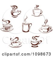 Clipart Steamy Brown Coffee Icons 3 Royalty Free Vector Illustration