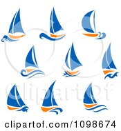 Clipart Orange And Blue Sail Boats Royalty Free Vector Illustration