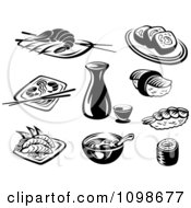 Clipart Black And White Japanese Food And Dishes Royalty Free Vector Illustration by Vector Tradition SM