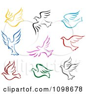 Clipart Colorful Flying Peace Doves Royalty Free Vector Illustration by Vector Tradition SM