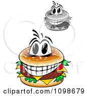 Clipart Grayscale And Colored Happy Cheeseburgers Royalty Free Vector Illustration