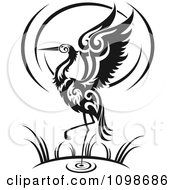 Clipart Black And White Wading Tribal Crane Flapping Its Wings Royalty Free Vector Illustration by Vector Tradition SM