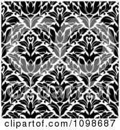 Clipart Black And White Triangular Damask Pattern Seamless Background 22 Royalty Free Vector Illustration