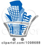 Clipart City Buildings In A Shopping Cart Royalty Free Vector Illustration