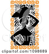 Silhouetted Ancient Medieval Greek Woman Carrying A Water Vessel On Her Head With Black And Orange Designs