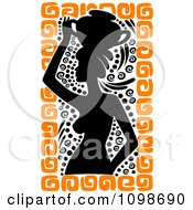Silhouetted Ancient Medieval Greek Woman Carrying A Water Pot On Her Head With Black And Orange Designs