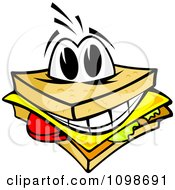 Clipart Happy Cheese Sandwich Royalty Free Vector Illustration by Vector Tradition SM