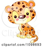 Clipart Cute Jaguar Cub Sitting And Smiling Royalty Free Vector Illustration
