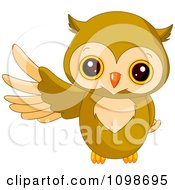 Cute Owl Presenting With A Wing by Pushkin