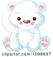 Cute Polar Bear Cub Sitting And Smiling by Pushkin