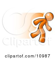 Speedy Orange Business Man Running Clipart Illustration