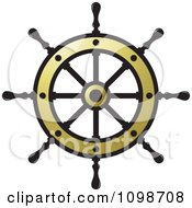 Clipart Golden Ship Helm Wheel Royalty Free Vector Illustration by Lal Perera