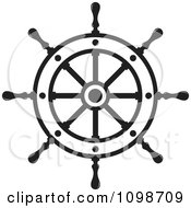 Clipart Outlined Ship Helm Wheel Royalty Free Vector Illustration by Lal Perera #COLLC1098709-0106