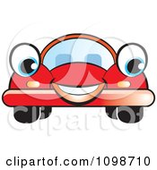 Clipart Happy Red Compact Car Royalty Free Vector Illustration by Lal Perera