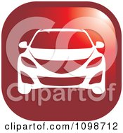 Clipart White Car On A Red Icon Button Royalty Free Vector Illustration