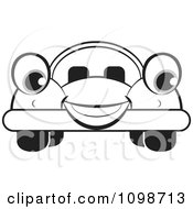 Clipart Happy Outlined Compact Car Royalty Free Vector Illustration