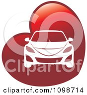 Clipart White Car On A Red Heart Royalty Free Vector Illustration