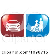 Clipart Red Handicap Car And Blue Wheelchair Icons Royalty Free Vector Illustration