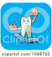 Clipart Human Bicuspid Tooth Waving On A Blue Square Royalty Free Vector Illustration