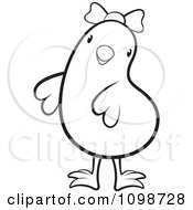 Clipart Cute Outlined Chick Wearing A Bow 1 Royalty Free Vector Illustration by Lal Perera