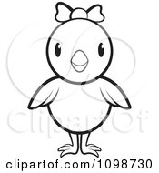 Clipart Cute Outlined Chick Wearing A Bow 2 Royalty Free Vector Illustration by Lal Perera