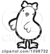 Clipart Cute Outlined Chick Wearing A Bow 3 Royalty Free Vector Illustration by Lal Perera