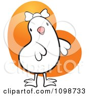 Clipart Cute Which Chick Wearing A Bow Over An Orange Heart Royalty Free Vector Illustration by Lal Perera