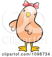 Clipart Cute Beige Chick Wearing A Pink Bow Royalty Free Vector Illustration by Lal Perera