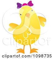 Clipart Cute Yellow Chick Wearing A Bow 2 Royalty Free Vector Illustration by Lal Perera