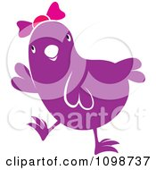 Clipart Cute Purple Chick Wearing A Bow Royalty Free Vector Illustration by Lal Perera