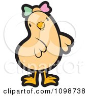 Clipart Cute Beige Chick Wearing A Bow Royalty Free Vector Illustration by Lal Perera